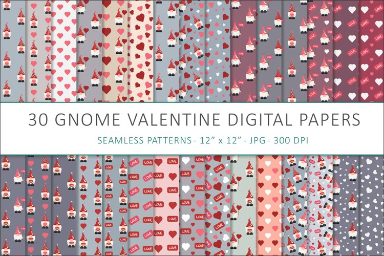 Gnome Valentines digital papers - 30 Seamless Designs example image 1