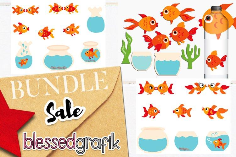 Goldfish Aquarium Clip Art Illustrations Bundle