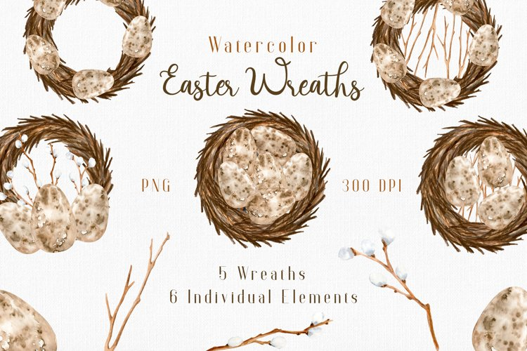 Watercolor Easter Wreaths PNG Clipart Collection. example image 1