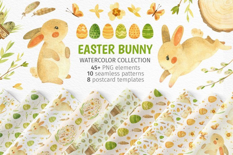 Easter Bunny - watercolor clipart, seamless patterns & cards example image 1
