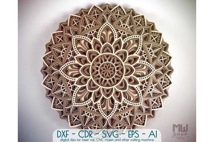 M19 - Circular Mandala Pattern, Layered Mandala DXF SVG example