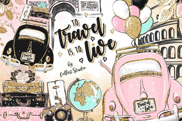 Travel Clipart Illustration, Resort Clipart, Wanderlust example image 1