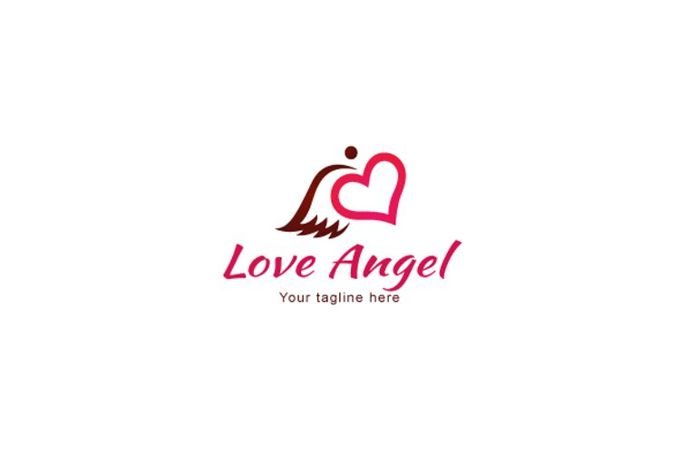 Love Angel - Cute Iconic Stock Logo Template example image 1