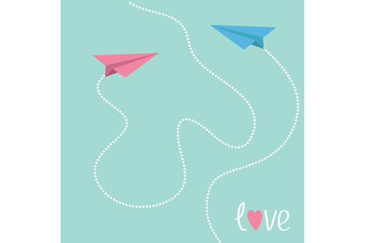 Pink and blue origami paper planes. Valentines Day. example image 1