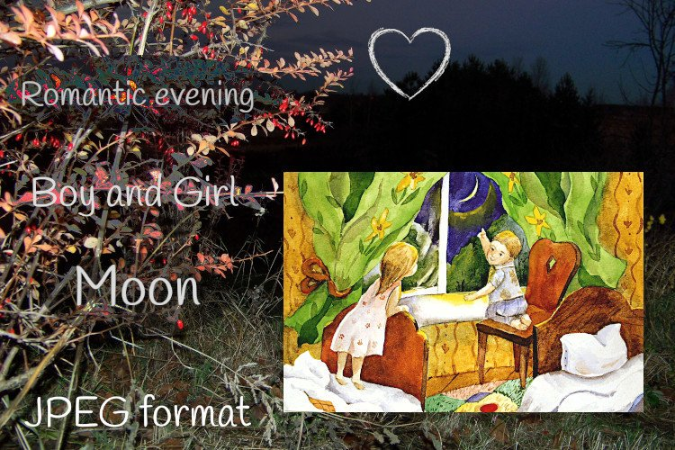 Romantic evening by window, Moon, boy and girl, watercolour example image 1