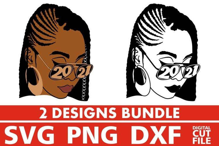 2x Black Woman in Glasses Bundle svg, Melanin, Year 2021 svg example image 1