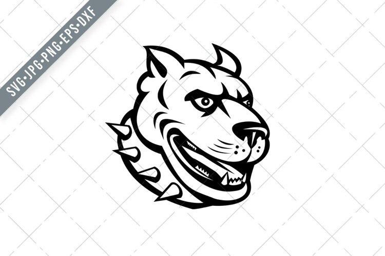 Head of Pit Bull or Pitbull Front View Retro Woodcut SVG example image 1