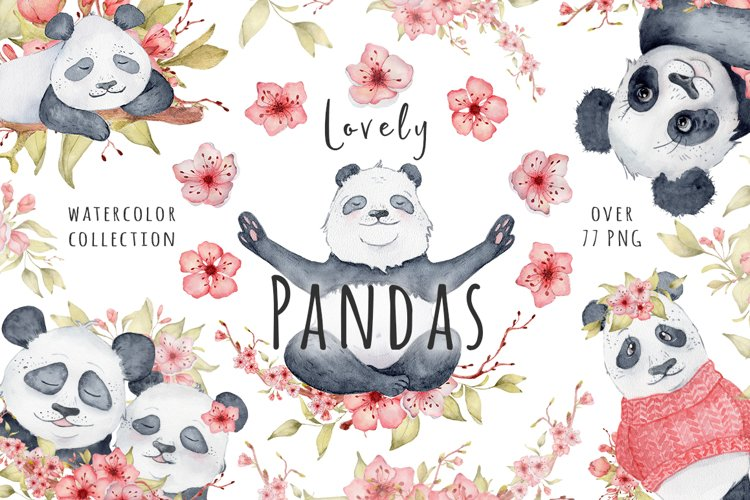 Lovely Pandas and Sakura watercolor set example image 1