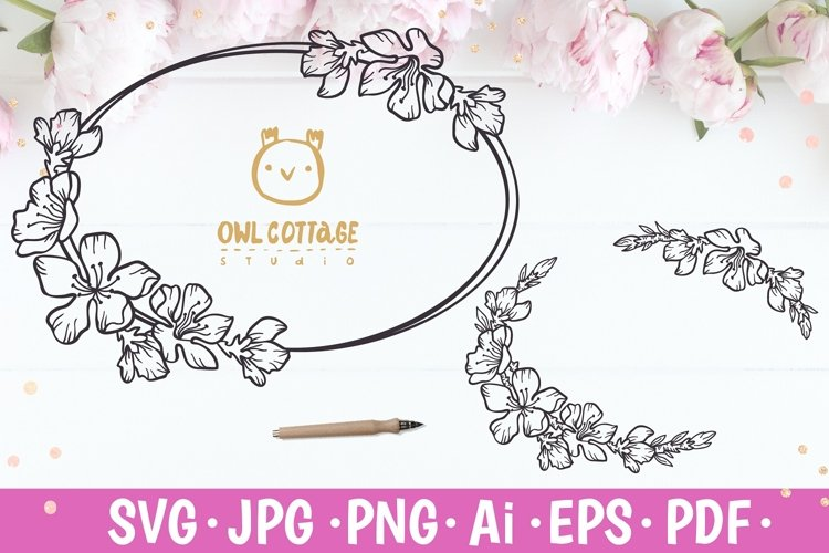 Cherry Blossom oval Vignette svg, Wedding Flowers Monogram