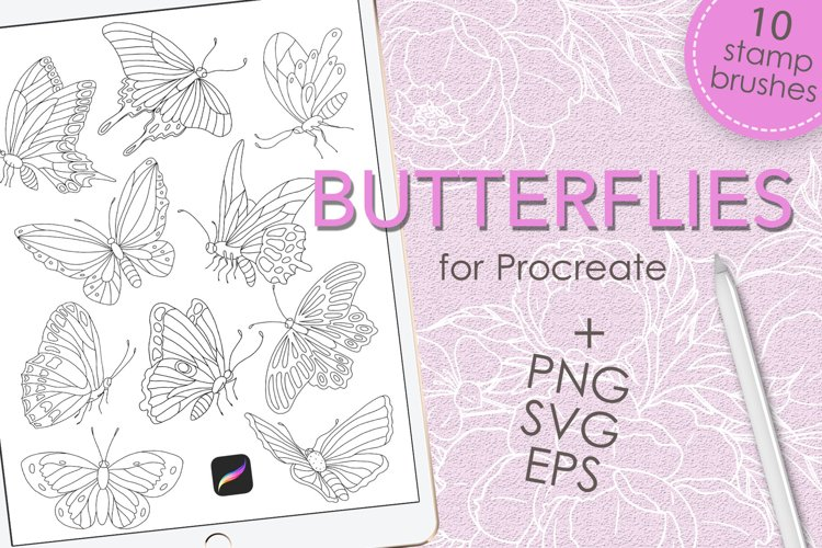 Butterflies brush stamps for Procreate and clip art example image 1