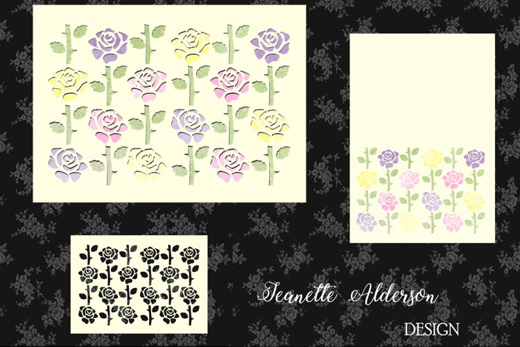 Cream Multi Coloured Rose card with matching Cutout Mat example image 1