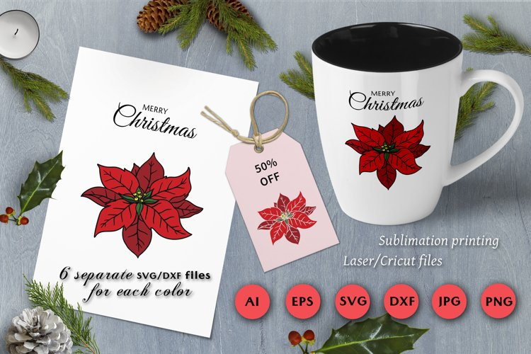 Christmas SVG for Laser | Cricut cutting | Poinsettia example image 1