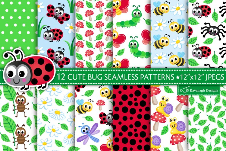 Cute bugs digital paper, bug seamless patterns, insects P49