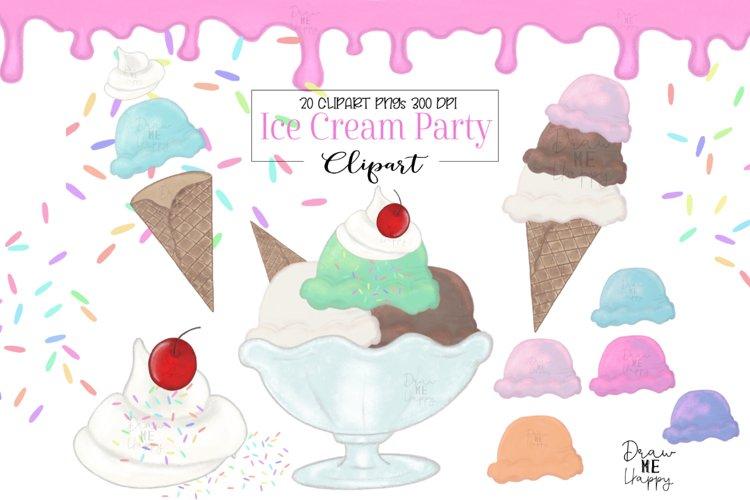 Ice Cream Clipart, Watercolor Ice Cream Clipart, Ice Cream example image 1