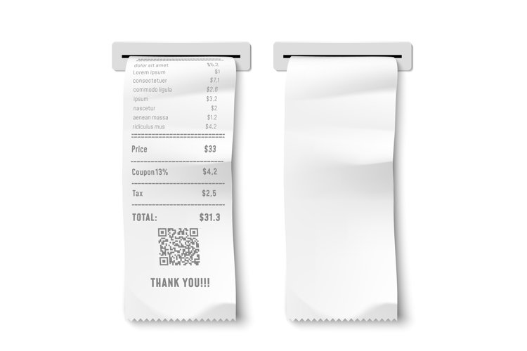 Realistic printed check. Transaction receipt, payment bill a example image 1