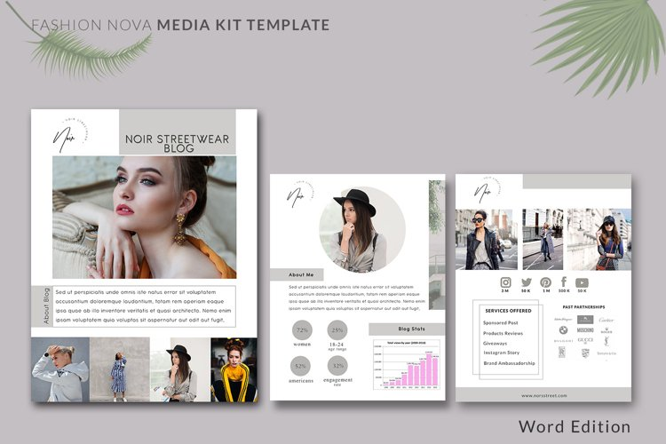 Fashion Nova Media Kit Template | 3-Pages | Influencer Media example image 1