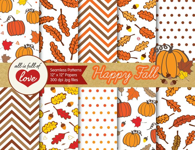 Happy Fall Digital Paper Autumn Background Patterns with acorns, leafs and pumpkins example image 1