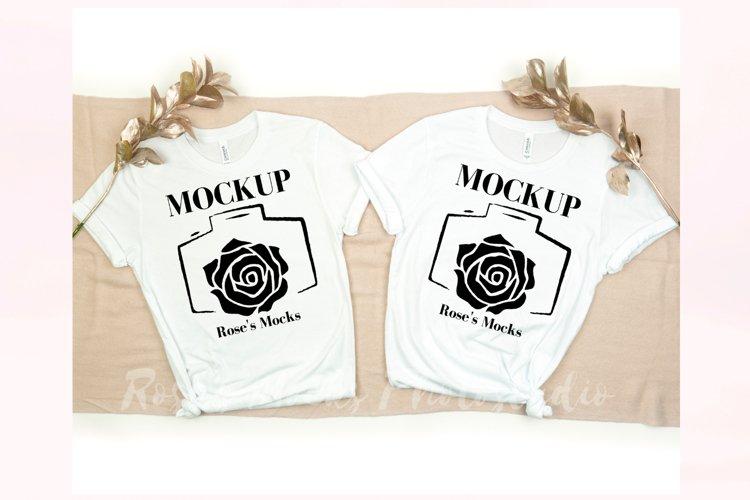 Bella Canvas 3001 Mockup White - Double T-shirt Mockup example image 1
