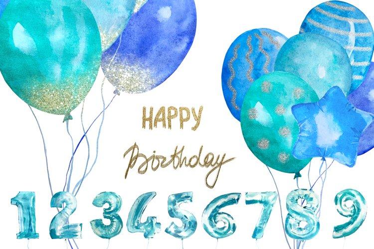 Watercolor Blue Balloons Clip Art Set