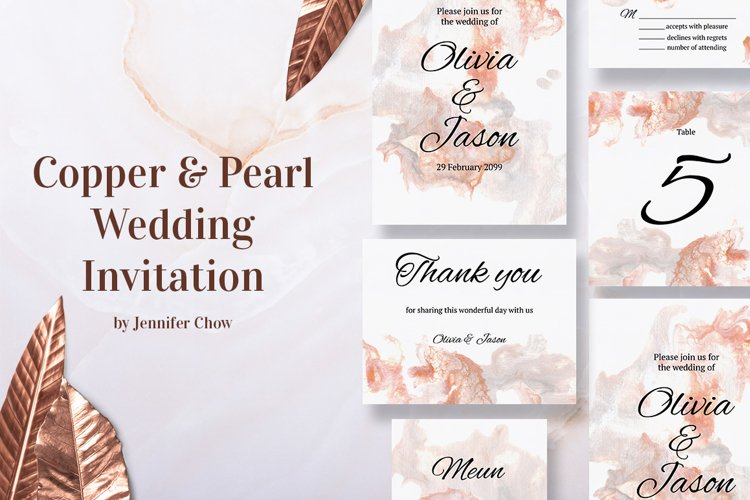 Copper and Pearl Wedding Invitation Suite example image 1