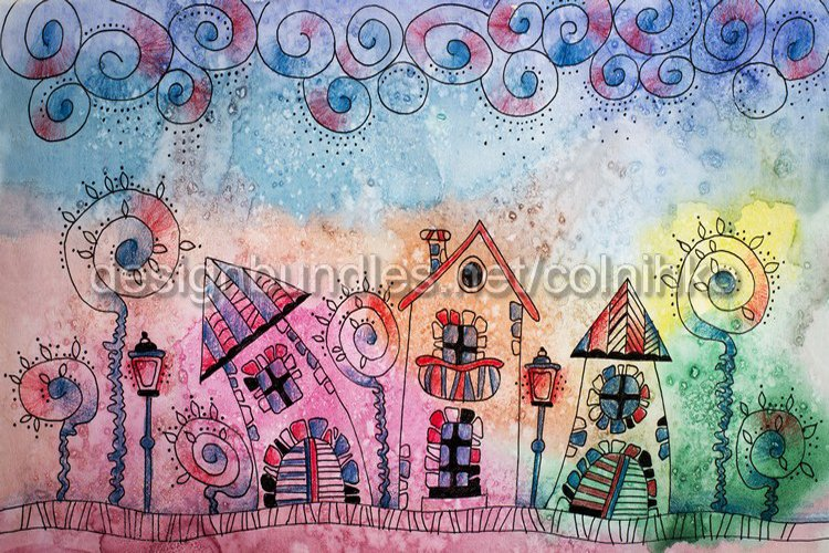 Watercolor painting of fantasy Fairytale town example image 1