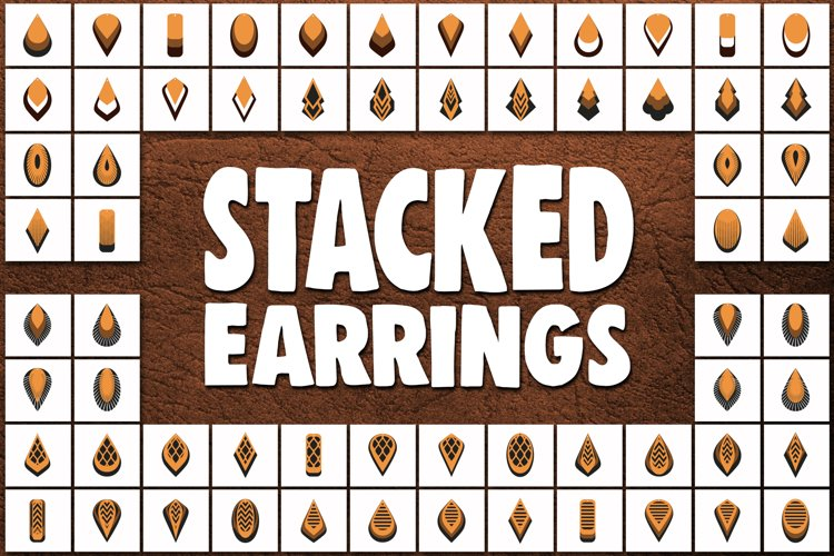 Stacked earrings template SVG - Cut files - leather earrings example image 1