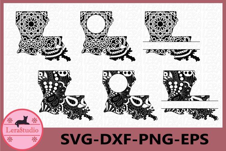 Louisiana State SVG,Louisiana Frames, Mandala SVG, Zentangle example image 1