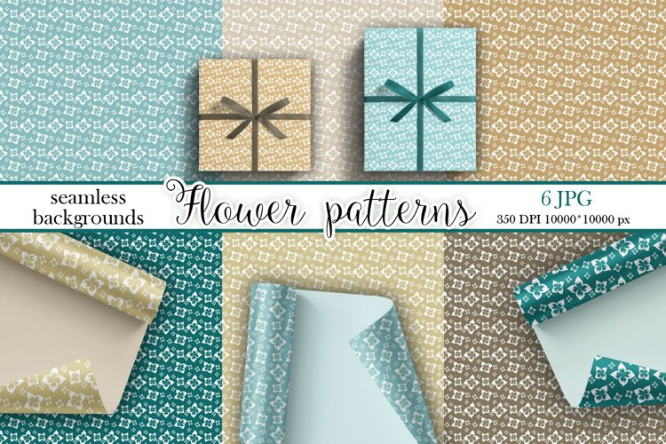 Floral vintage backgrounds. Seamless patterns example image 1