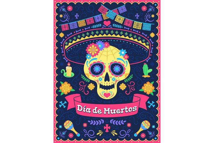 Dia de los muertos poster. Dead day holiday, skull with flow example image 1