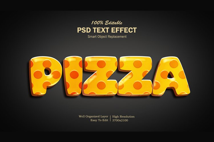 3D Pizza Text Effect example image 1