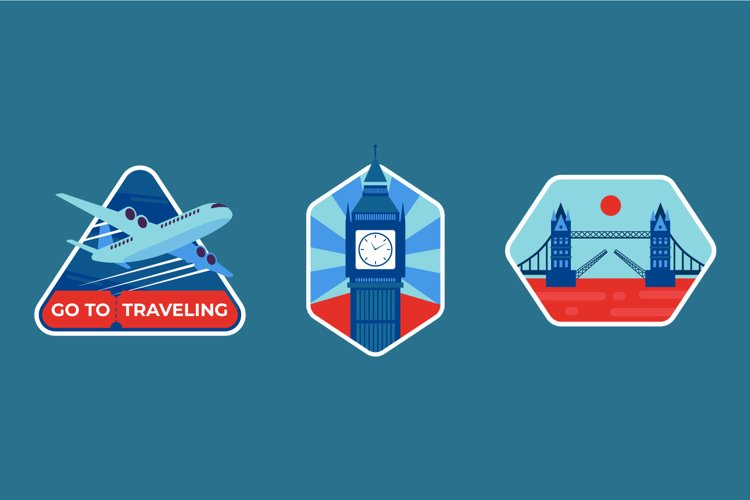 Traveling To London Badge illustrations example image 1