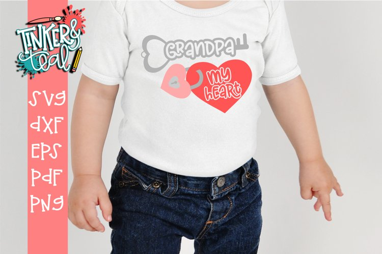 GrandPa Key To My Heart Valentine SVG DXF Cut File example image 1