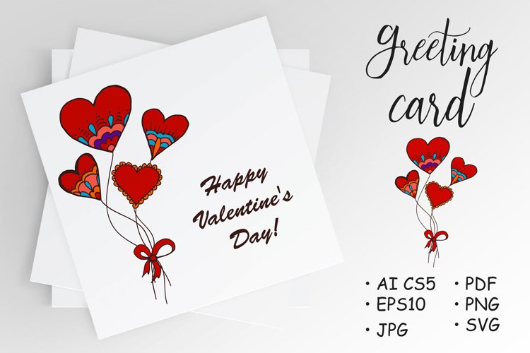 Hearts, balloons. Hand drawing. Love. St. Valentine's Day example image 1