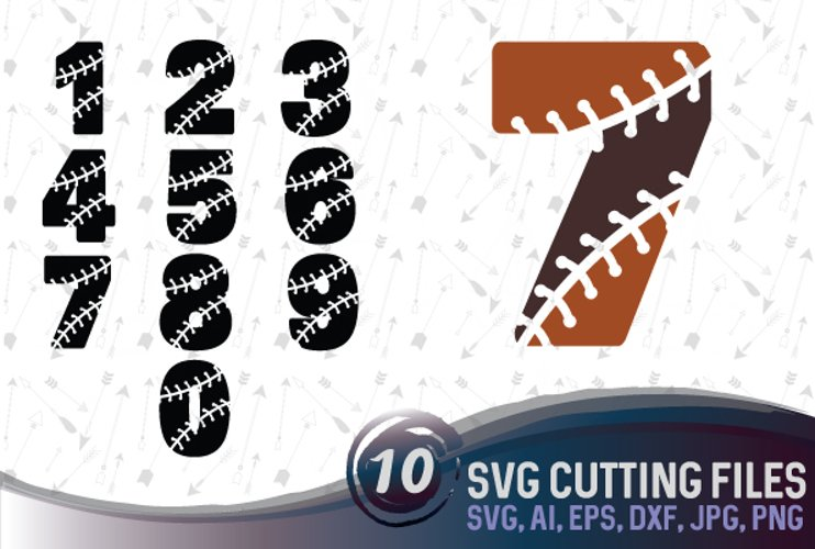 Baseball numbers - SVG, EPS, PNG, JPG, DXF, AI