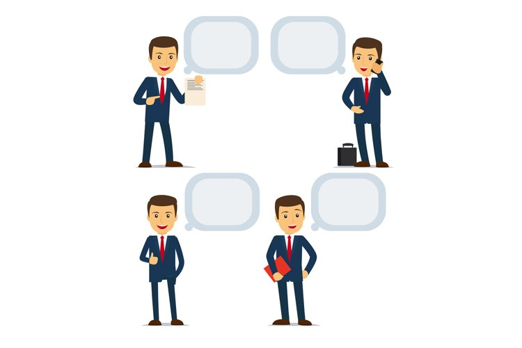 Businessman with speech bubbles example image 1