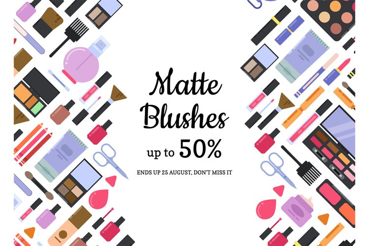 Vector flat style different makeup and skincare sale backgro example image 1