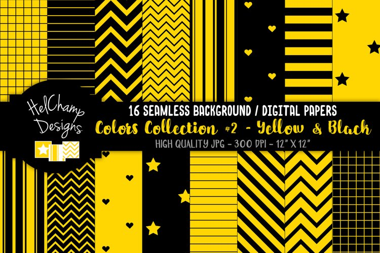 16 seamless Digital Papers - Yellow and White - HC117