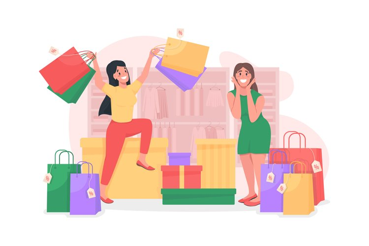 Girls shopping flat concept vector illustration example image 1