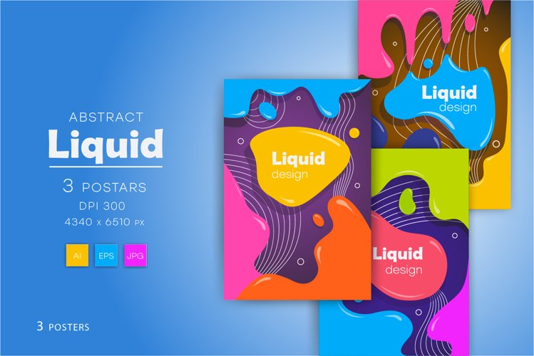 Colorful posters in liquid style. example image 1