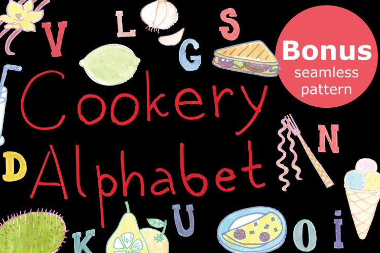 Cookery alphabet-watercolor markers example image 1