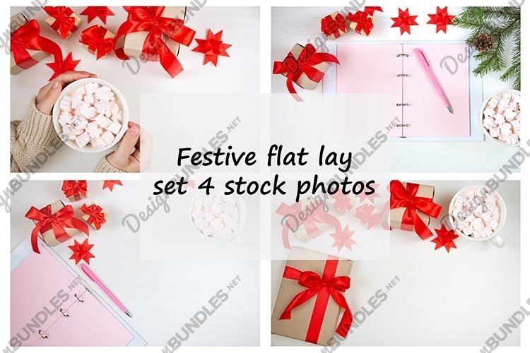 Festive flat lay, set 4 stock photos example image 1