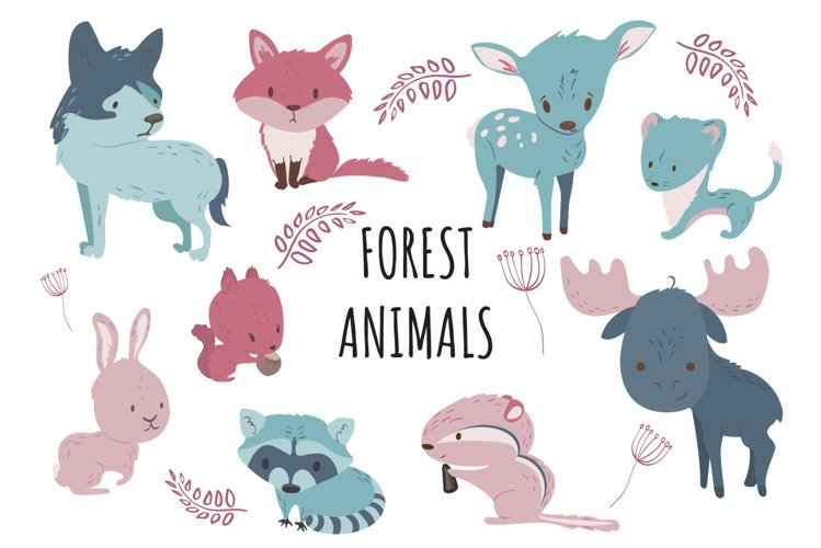 Set of 9 cute forest animals illustrations + pattern