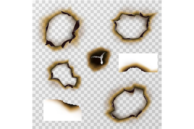 Burnt hole in paper or pergament, scorched papers vector set example image 1