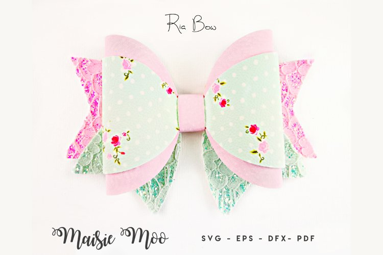 Bow Template SVG, Classic Bow Template, Wrapped Hair Bow PDF example image 1