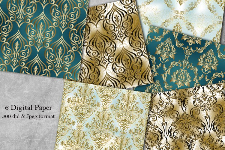 Vintage damask seamless pattern. Collection of papers example image 1