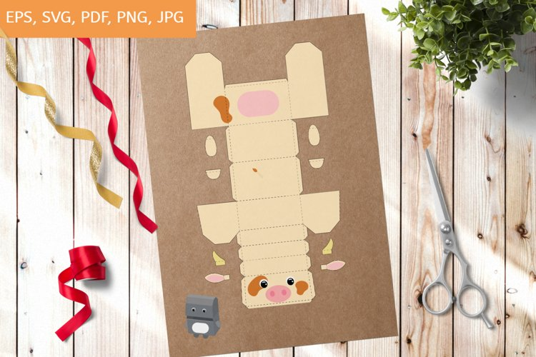 Cow Party Favor Box Template SVG, Gift Box SVG