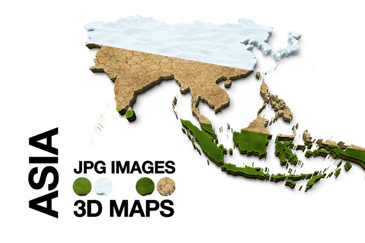 ASIA 3D Maps Images Dry Earth Snow Grass Terrai