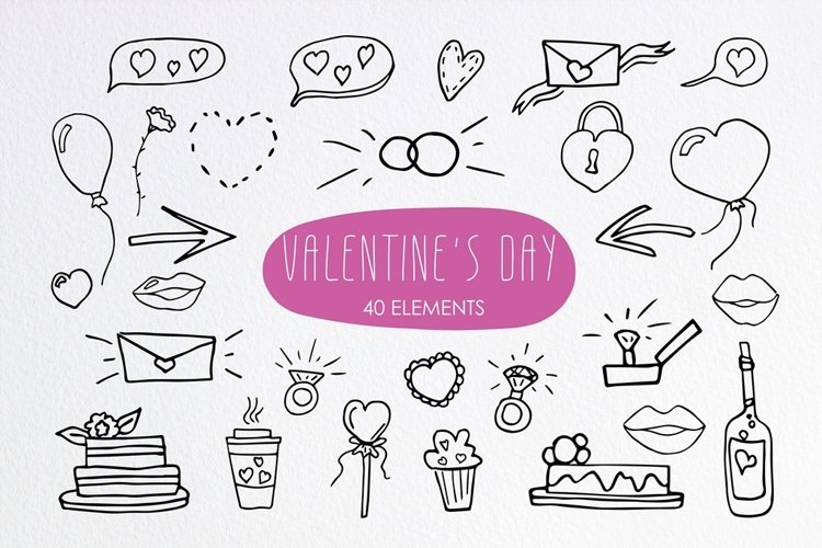 Set of Doodle Valentines day. Love clipart
