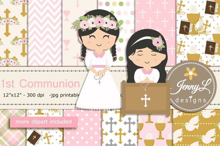 1st Communion Girl Confirmation Digital Papers and Bible Cli example image 1