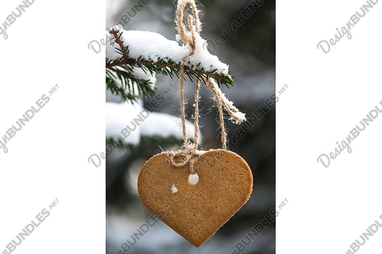 Gingerbread cookie hanging on a spruce branch. example image 1